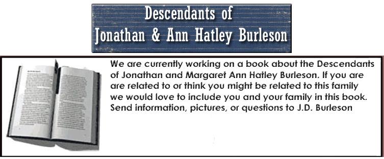 Descendants of Jonathan & Ann Hatley Burleson
